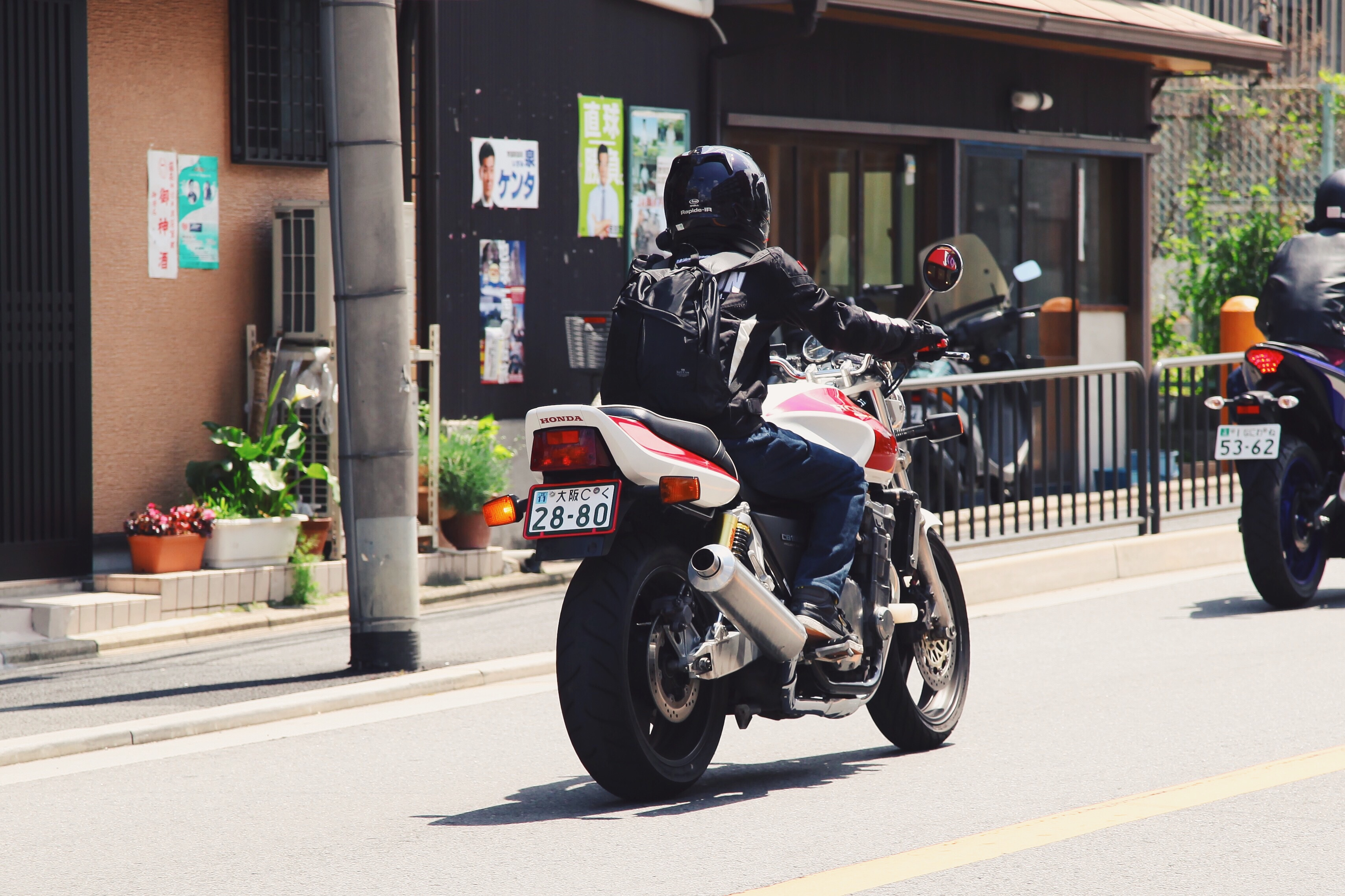 Motorcyclist Prepares for Safe Driving